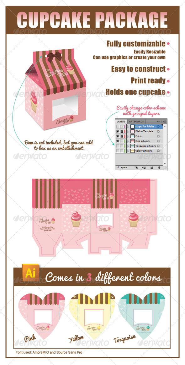 Cupcake Package - Packaging Print Templates