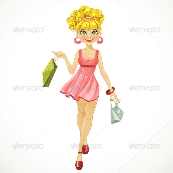 GraphicRiver Shopper Woman in a Pink Dress 6434244