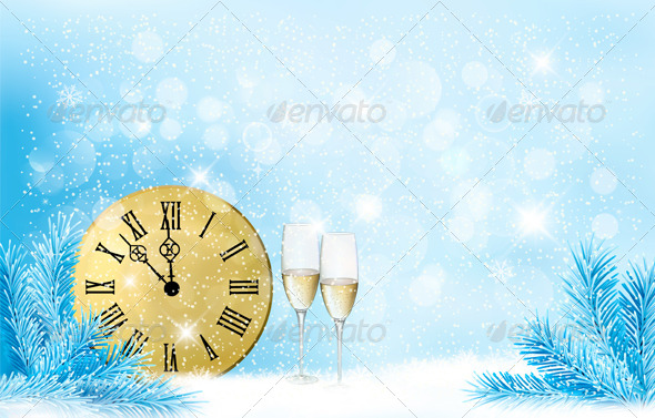 GraphicRiver Holiday Blue Background Happy New Year 6434325