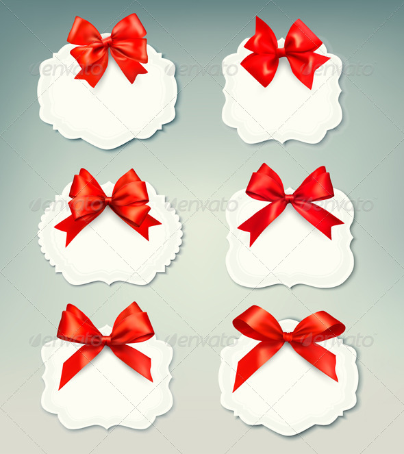 Set of Retro Labels with Red Gift Bows