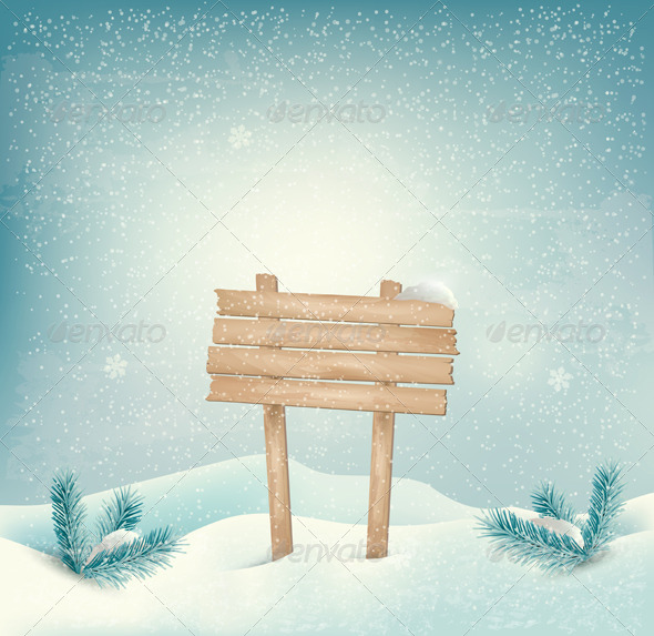 GraphicRiver Holiday Winter Background with Wooden Sign 6434330