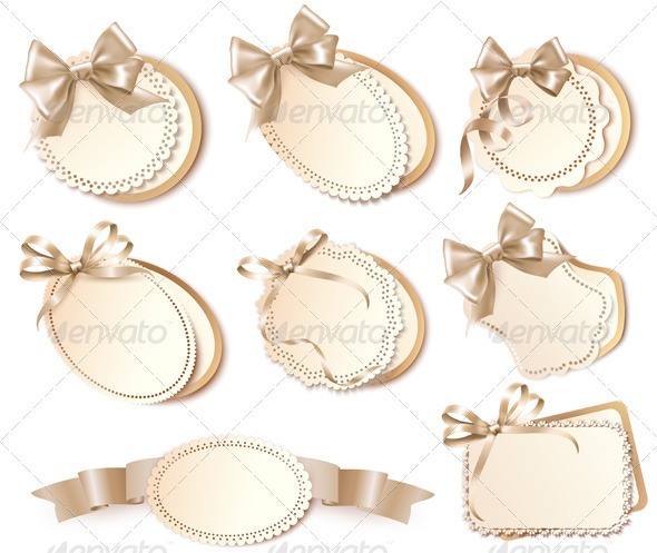 Set of Gift Cards with Bows and Ribbons