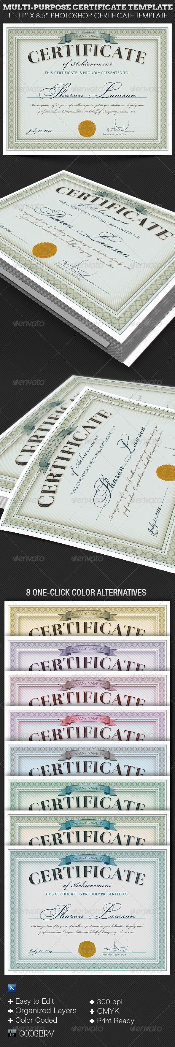 GraphicRiver Multipurpose Certificate Template 6434333