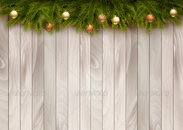 GraphicRiver Christmas Decoration on Wooden Background 6434334