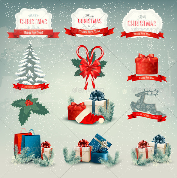 GraphicRiver Big Group of Christmas Icons and Design Elements 6434336