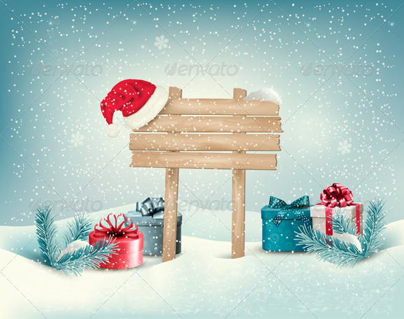 Christmas Winter Background with Presents