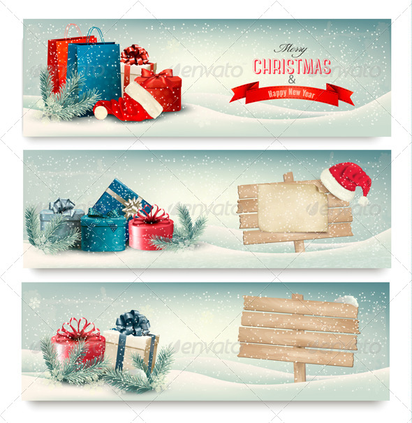 GraphicRiver Christmas Winter Banners with Presents Vector 6434362