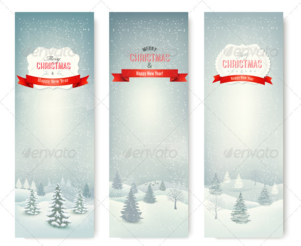 GraphicRiver Christmas Winter Landscape Banners 6434366