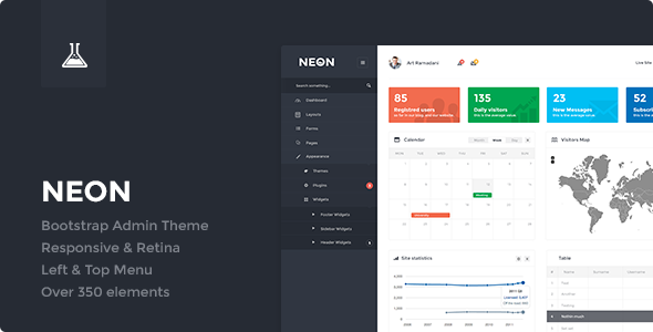 01 PREVIEW.  large preview Neon   Bootstrap Admin Theme (Admin Templates)