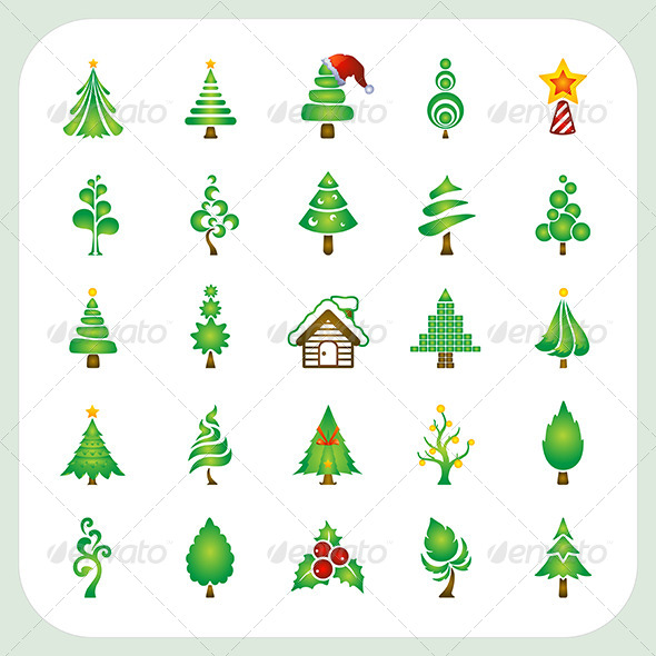 GraphicRiver Christmas Tree Icons Set 6434483