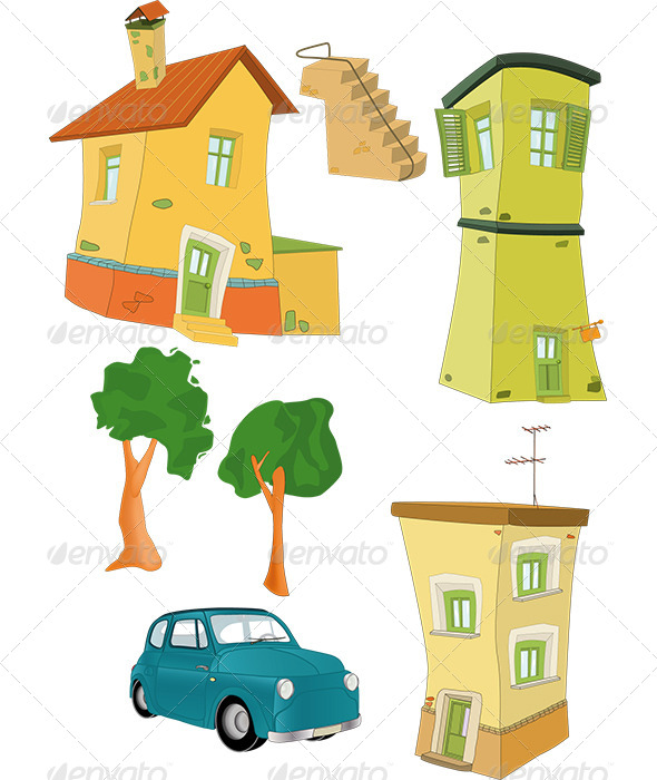GraphicRiver Set Small Houses Trees the Car and a Ladder 6434612