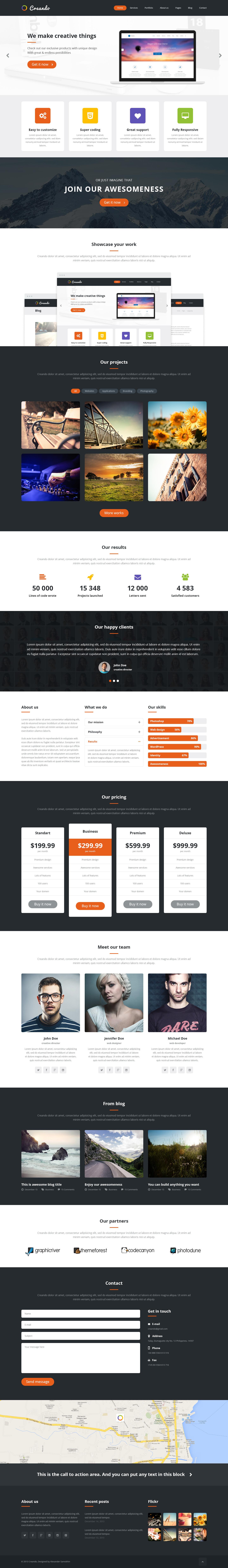 Creando – Creative Onepage Parallax PSD Template