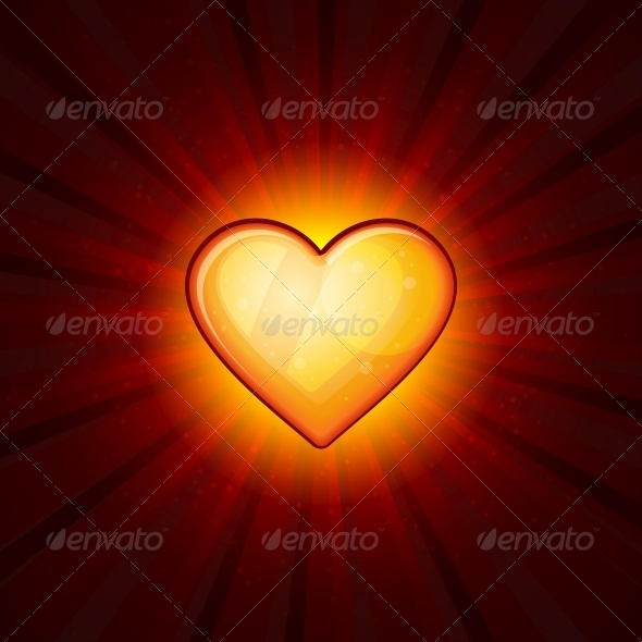 GraphicRiver Gold Heart on Red Background 6435021