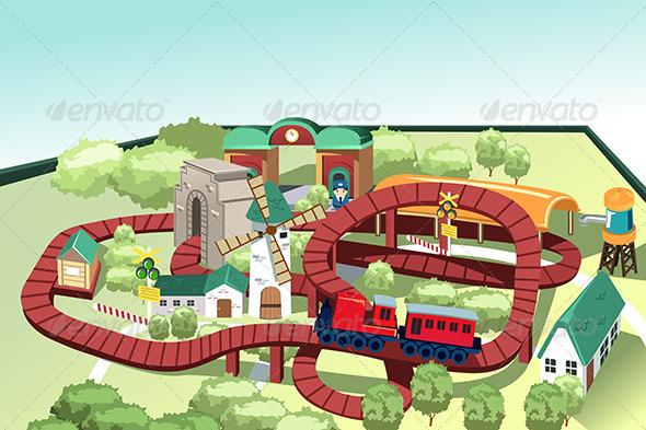 GraphicRiver Miniature Toy Train Track 6435127