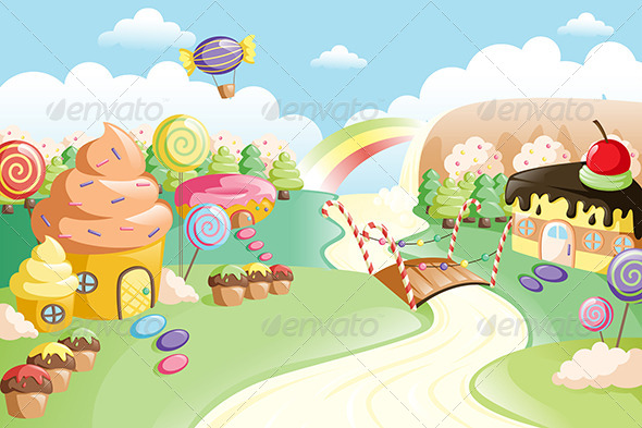 GraphicRiver Fantasy Sweet Food Land 6435254