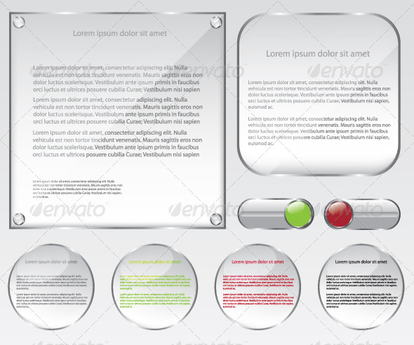 GraphicRiver Glass Web Frame and Buttons Illustration 6435495
