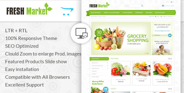 If you like our themes, please don't forget to rate it. This helps us a lot Template ID : OPC050107 Fresh Market OpenCart Template is specially designed