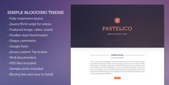 Pastelico - Responsive Ghost Theme