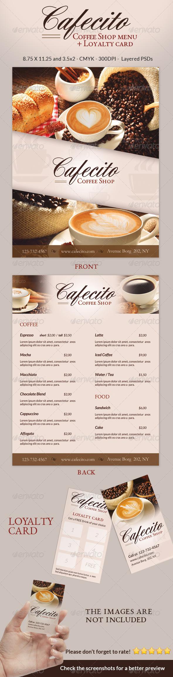 GraphicRiver Cafecito Coffee Shop Menu & Loyalty Card 6436233