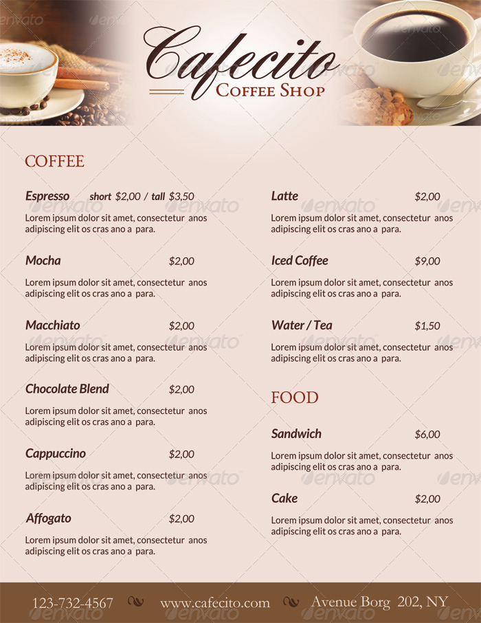 Cafecito Coffee Shop Menu + Loyalty Card by ingridk : GraphicRiver