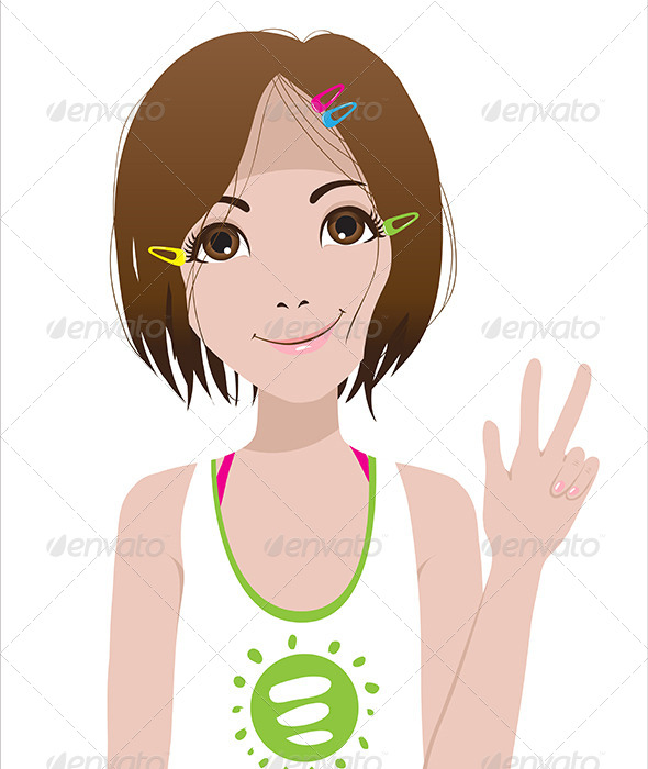 GraphicRiver Smiling Girl Victory Sign 6436266
