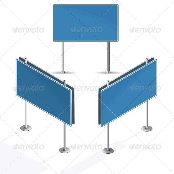 GraphicRiver Blank Blue Road Sign on White Background 6436385