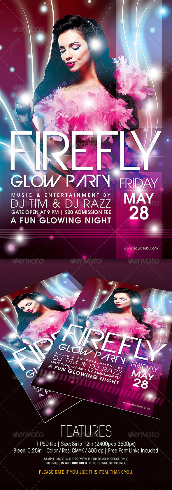 GraphicRiver Firefly Glow Party Flyer 6436520
