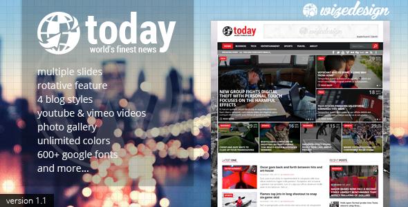 Today - Info News & Magazine WordPress Theme. Theme para wordpress para periodíco