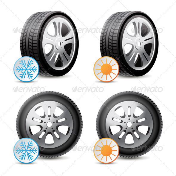 GraphicRiver Car Wheels with Winter and Summer Tires 6436769