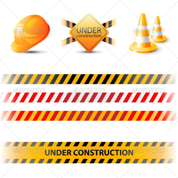 GraphicRiver Under Construction Ribbons and Design Elements 6436785