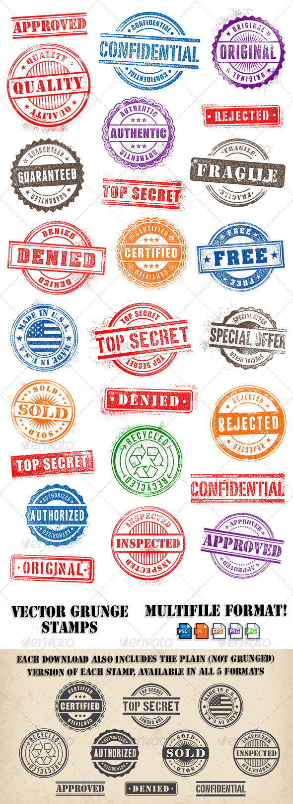 GraphicRiver Grunge Commercial and Promotional Stamps Set 6437076