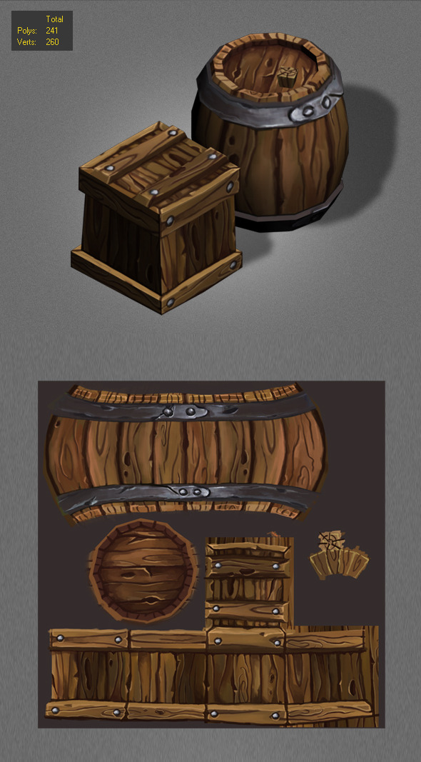 Wood Box , Barrels Lowpoly_1 - 3DOcean Item for Sale