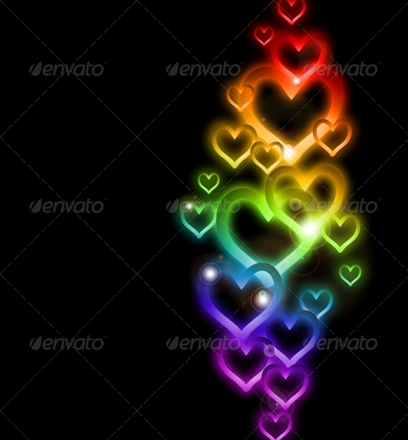 GraphicRiver Rainbow Heart Border with Sparkles 6437547