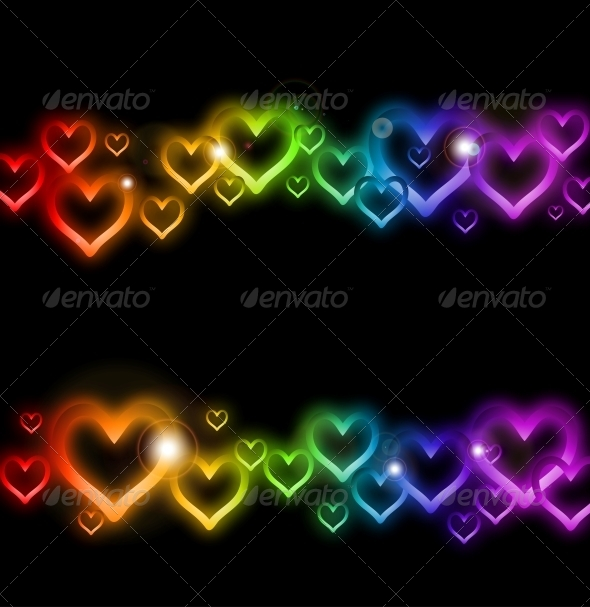 GraphicRiver Rainbow Heart Border with Sparkles 6437602