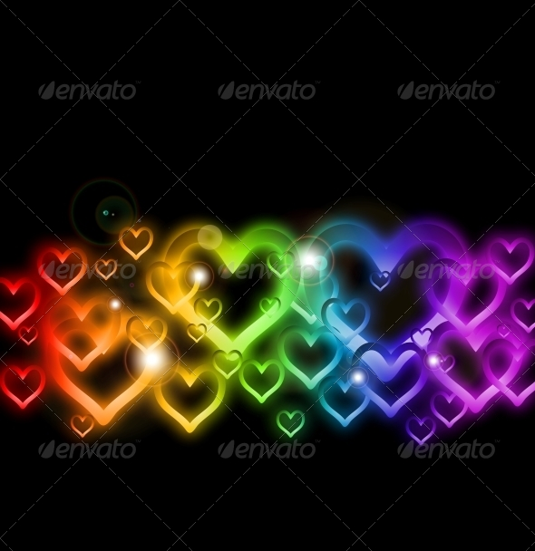 GraphicRiver Rainbow Heart Border with Sparkles 6437797