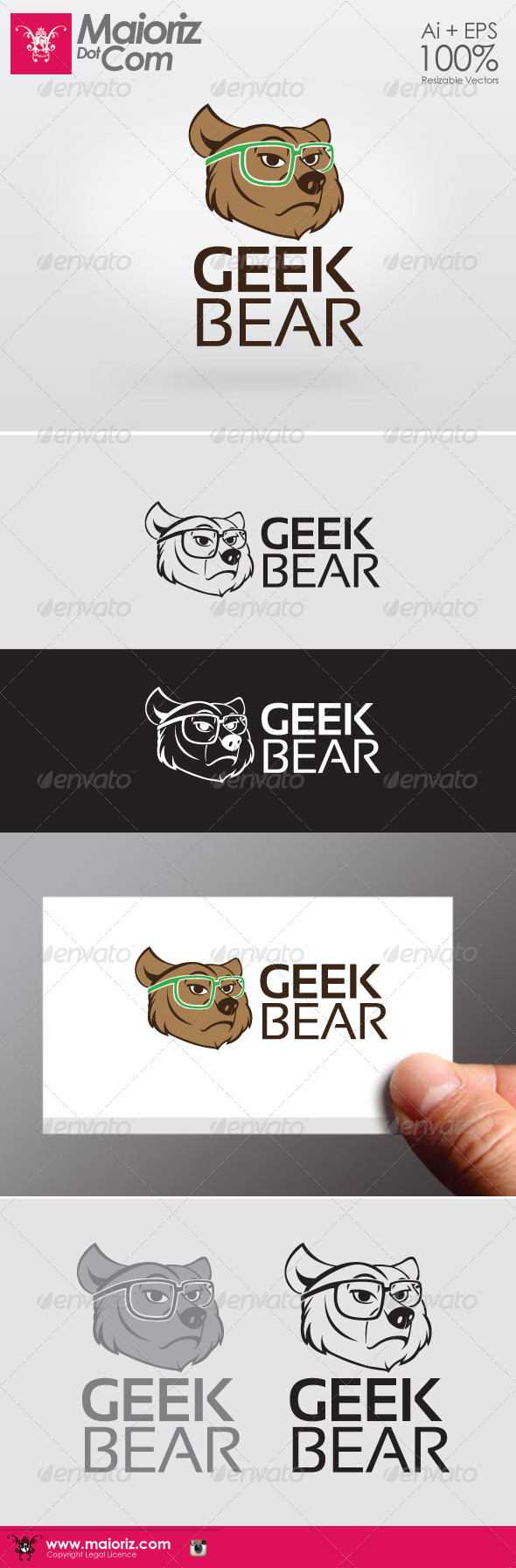 GraphicRiver Geek Bear Logo 6406878