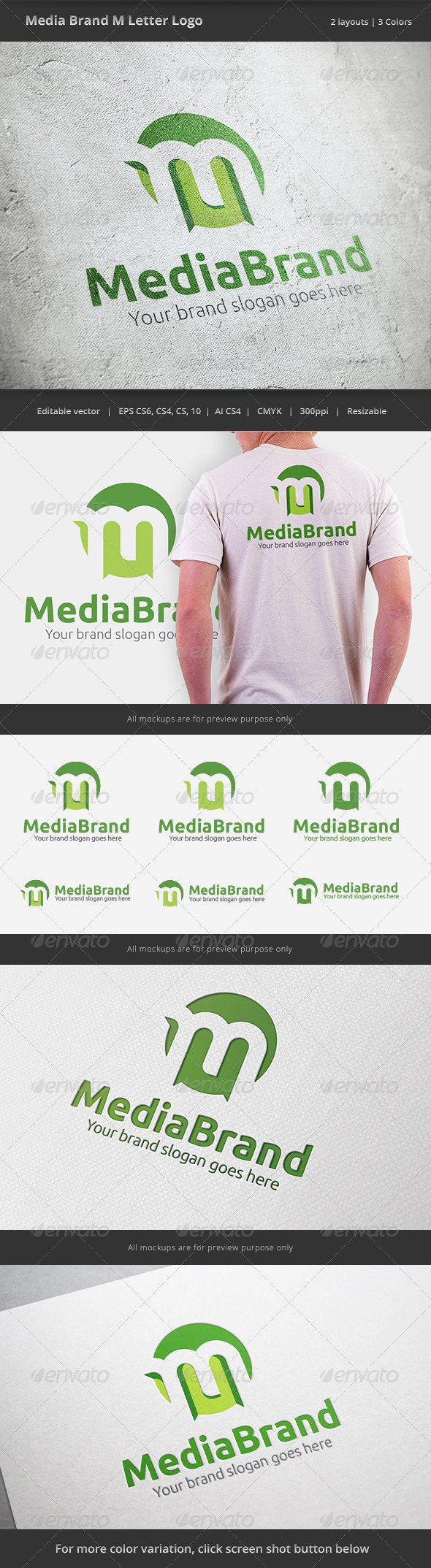 GraphicRiver Media Brand Letter M Logo 6438040