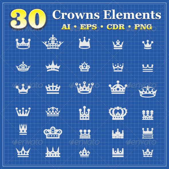 GraphicRiver 30 Crowns Elements v3 6439525