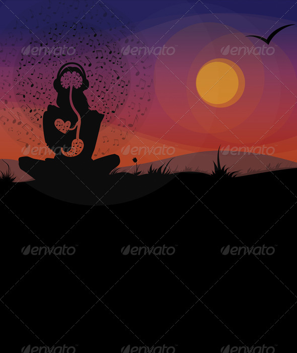 GraphicRiver Girl Enjoying the Music on the Nature 6439692