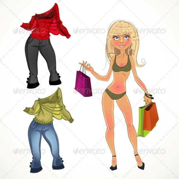 GraphicRiver Nude Blond Shopping Glamur Girl with Clothes 6439980