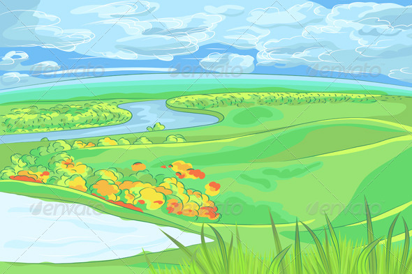 GraphicRiver European Flat Landscape with River 6440013