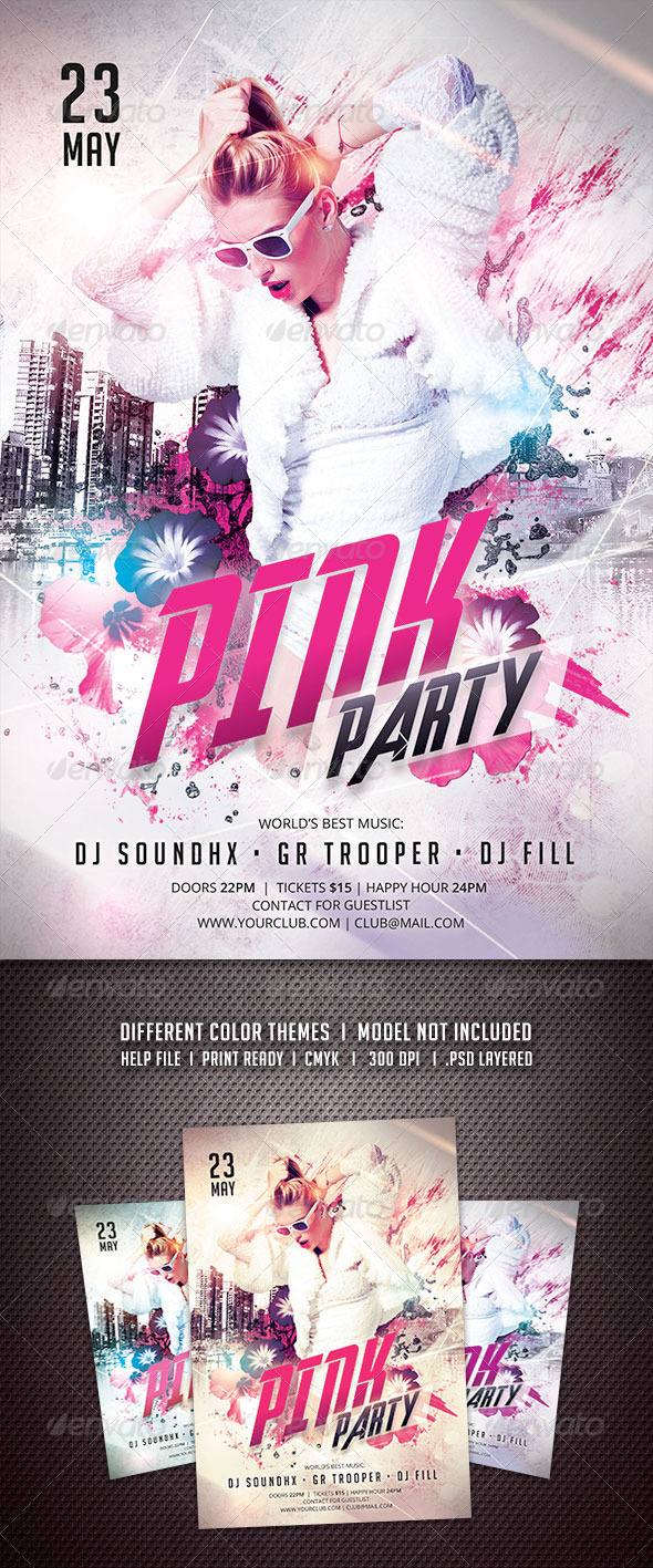GraphicRiver Pink Party Flyer 6440047