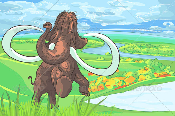GraphicRiver Mammoth in a Landscape with a River 6440101