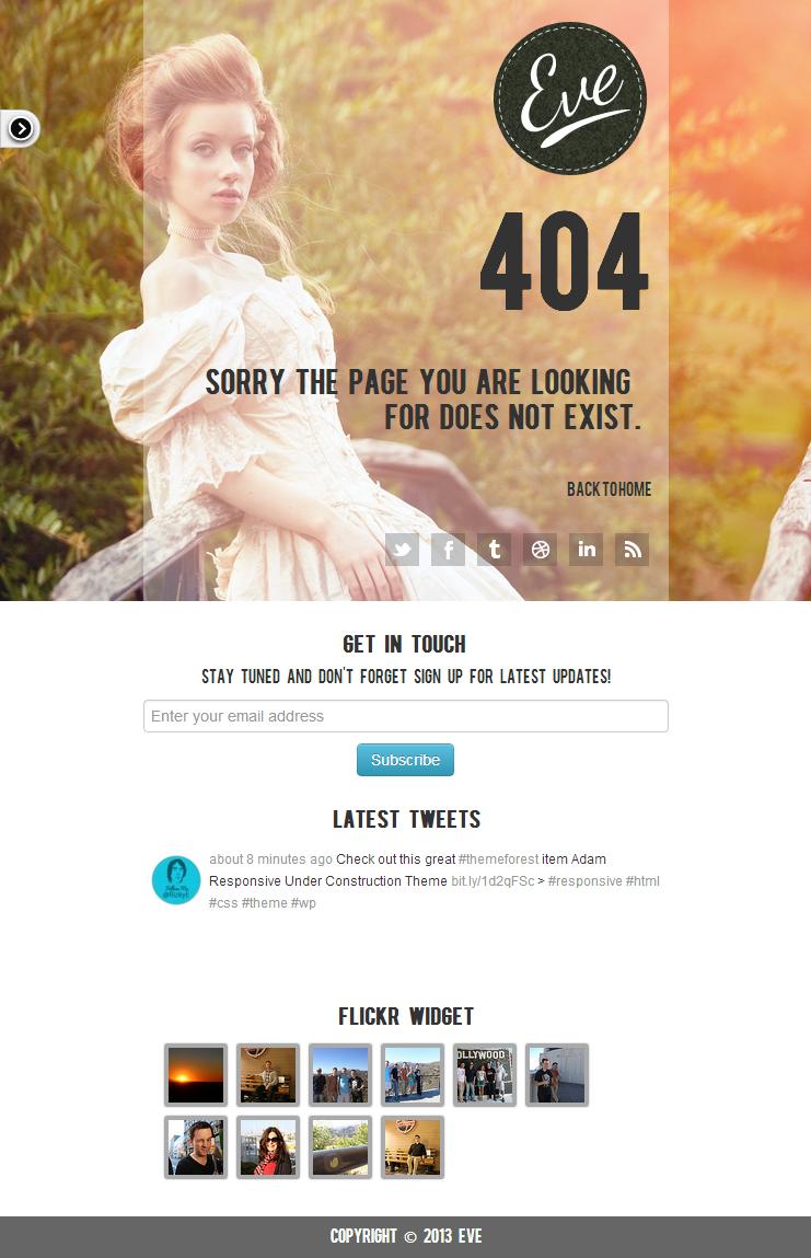 Eve404 - Responsive 404 Theme