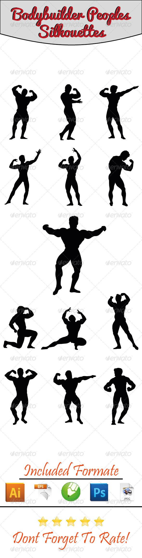 GraphicRiver Bodybuilder Silhouettes 01 6418166