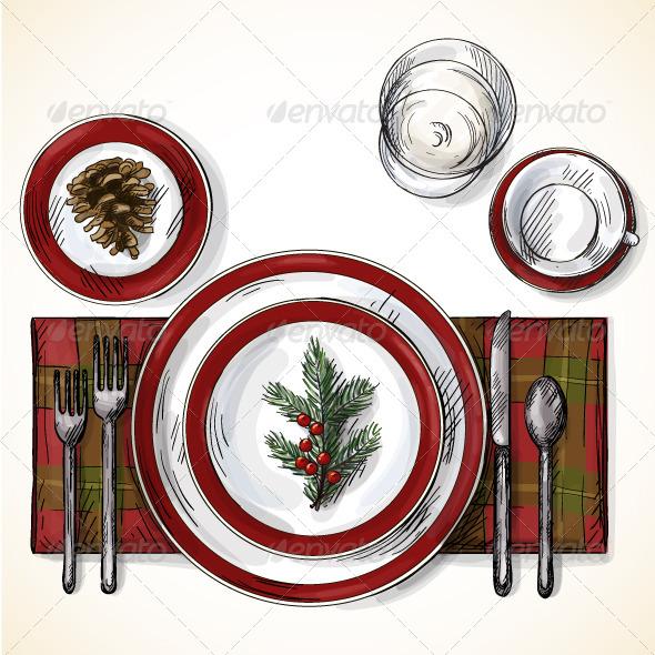 GraphicRiver Christmas Table Setting 6441441