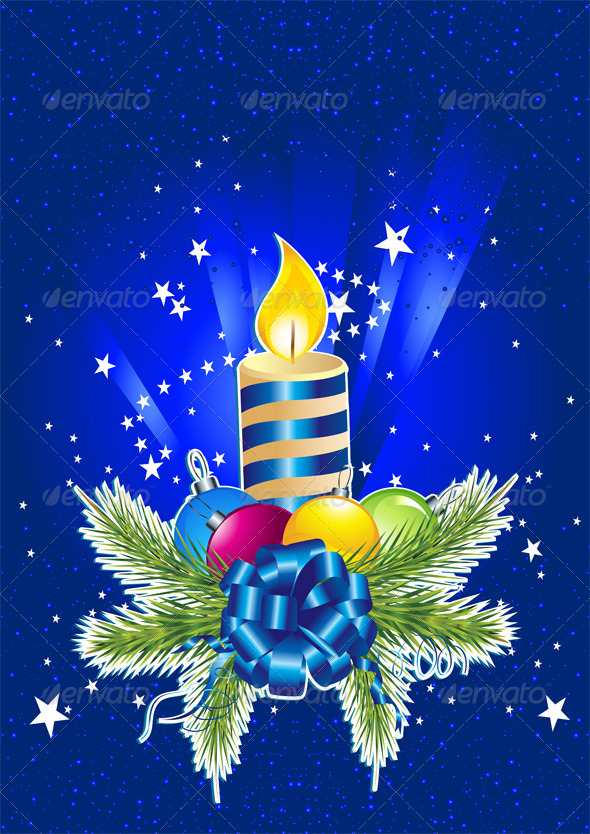 GraphicRiver Happy New Year Card with Candle Pine and Ball 6441469