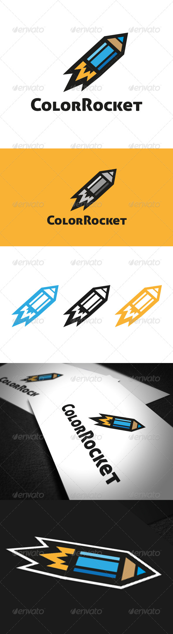 Color Rocket Logo Template - Vector Abstract