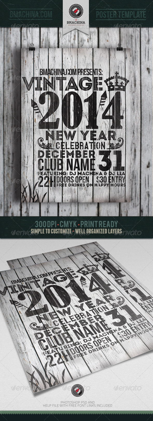 GraphicRiver 2014 Vintage New Year s Flyer Template 6441595