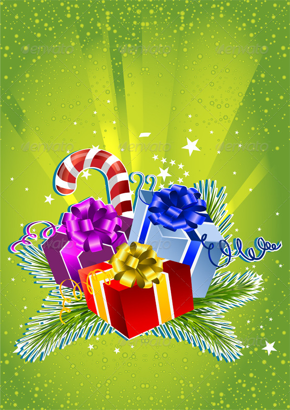 Happy New Year Card with Colorful Gift Boxes